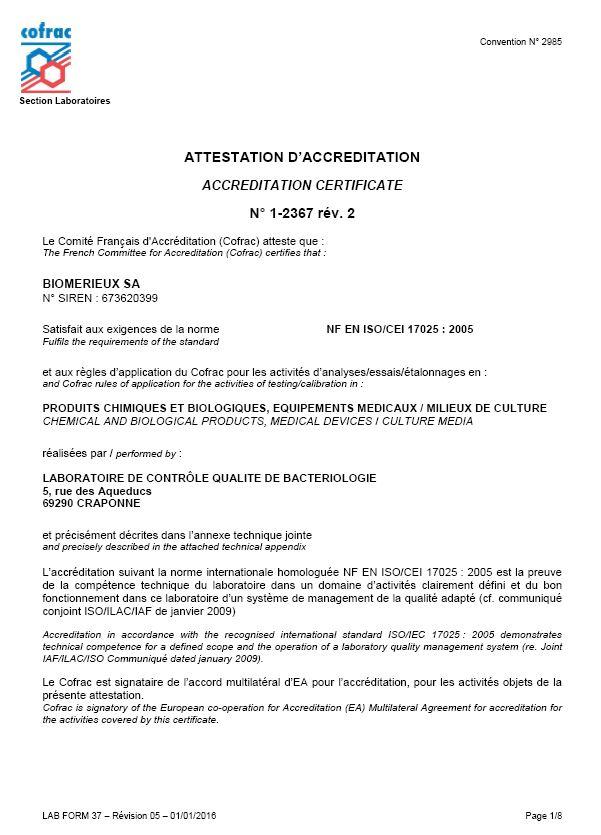 Zertifikate   bioMérieux Deutschland